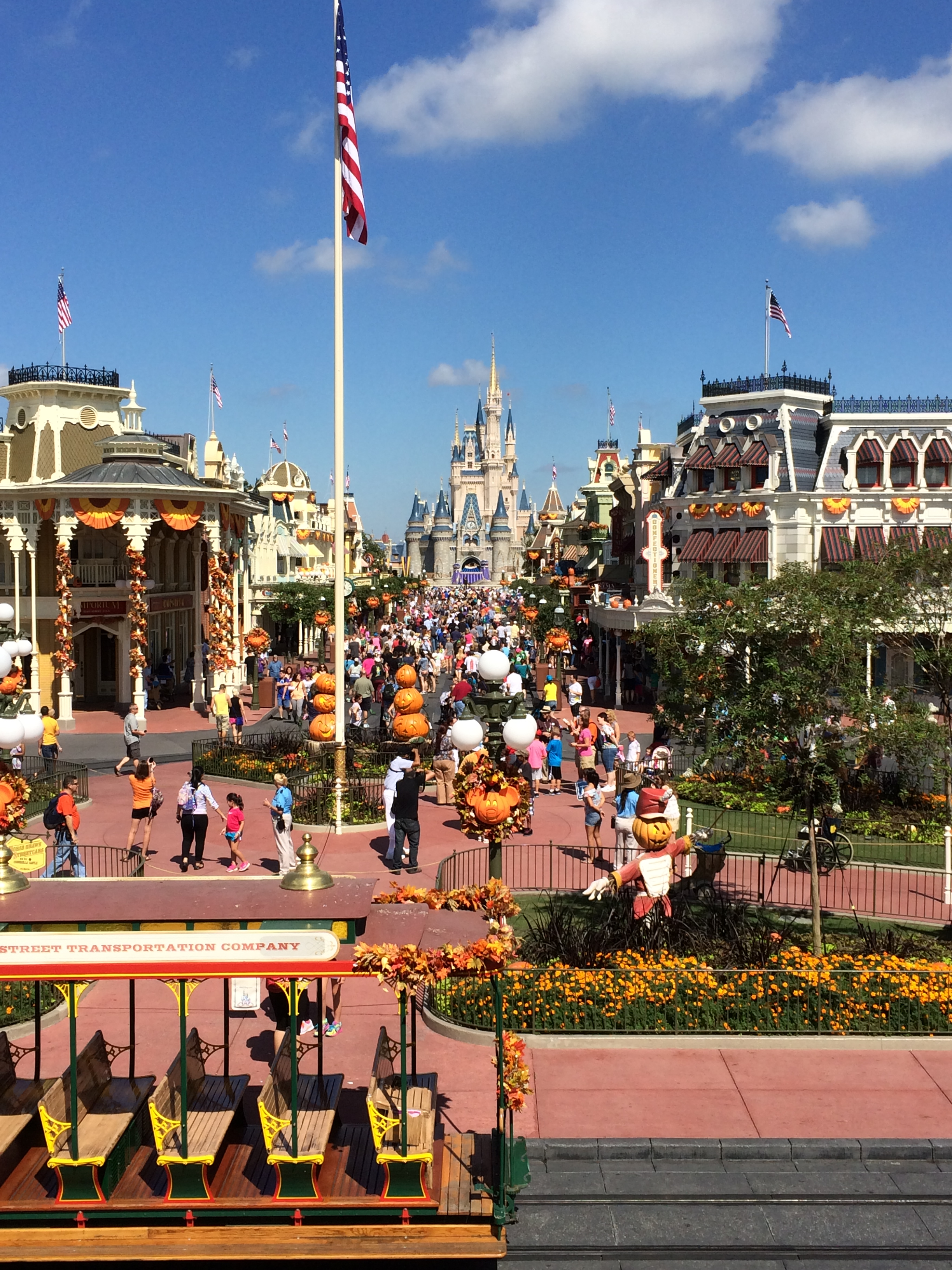 Halloween decorations in the Magic Kingdom. Pumpkins galore, fall ...